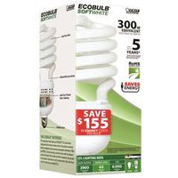 Ecobulb ESL65TN Compact Fluorescent Lamp, 65 W, 120 V, Twist, Medium Screw ,, 6000 hr - Case of 6