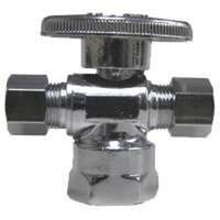 "Dual Stop Water Supply Line Valve, 1/2"" x 3/8"" x 1/4"""