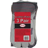 Leather Palm Gloves, 3 Pack