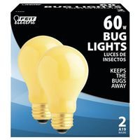 Feit Electric 60A/Y-130 Bug Light Incandescent Lamp, 60 W, 130 V, A19, Medium Screw , - Case of 6
