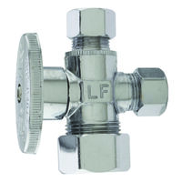 "Low Lead Angle Water Supply Line Valve, 5/8"" Comp x 3/8"" Comp x 3/8"" Comp"