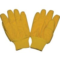 Mens Knit Wrist Chore Gloves, Yellow