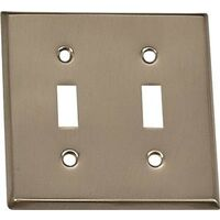 Double Switch Plae, Brushed Nickel