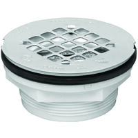 No Caulk ABS Shower Drain with Plastic Strainer, 2""
