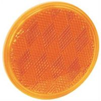 American Hardware RV-660C Self-Adhesive Safety Reflector, 3 in Dia, Plastic, Amber