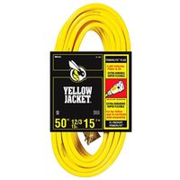 50 foot 12/3 yellow jacket yellow outdoor extension cord