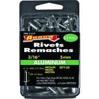 "Aluminum Medium Rivets, 3/16"" x 1/4"""