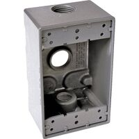 1 Gang Aluminum 3 Outlet Box Gray