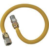 "Coated Stainless Steel Gas Appliance Connector, 3/8"" x 1/2"" x 1/2"" x 12"""