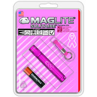 Maglite Solitaire Flash Light with NBCF Logo, AAA Pink