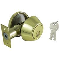 DEADBOLT SINGLE CYL 6-WAY PB