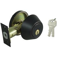 DEADBOLT SNGL CYL 6-WAY BRONZE