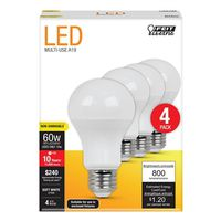 Feit Electric A800/827/10KLED/4 Non-Dimmable LED Bulb, 60 W, LED Bulb, 120 VAC, 800 lumens, 2700 K, CRI >80