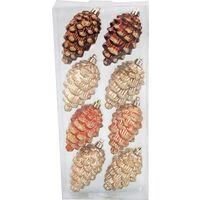 ORNAMENT 60MM PINECONE 8 PC
