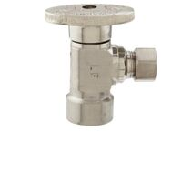 "Low Lead Angle Quarter Turn Water Supply Line Valve, 1/2"" x 3/8"" Brushed Nickel"