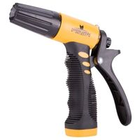 Ergonomic Plastic 3-Way Garden Hose Nozzle, Yellow and Black