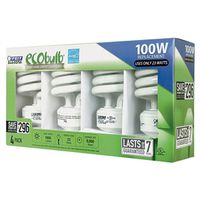 Ecobulb ESL23TM/4/RP Non-Dimmable Compact Fluorescent Lamp, 23 W, 120 V, Mini Twist, 10000 hr