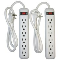 Six Outlet Power Strip, White 2 Pk