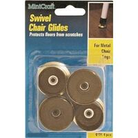 Swivel Chair Glide Brass, 5/8""