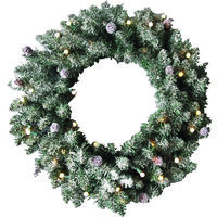WREATH 24IN LIT DECO UL