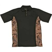 Golf Shirt Black with Camo Accent, XX-Large