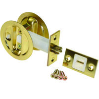 Pocket Door Privacy Lock, Bright Brass