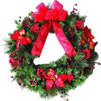 WREATH LIT 24IN RED RUBBEN UL