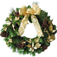 WREATH LIT 24IN GOLD RIBBON UL