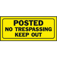 """Posted No Trespassing Keep Out Sign, 6"""" x 14"""""""