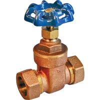 "Compression Gate Valve, 1/2"" Brass"