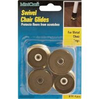 Swivel Chair Glide Brass, 7/8""
