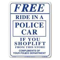 "Free Ride In A Police Car Sign, 9"" x 12"""