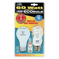 Ecobulb BPESL13T Compact Fluorescent Lamp, 13 W, 120 V, Mini Twist, Medium Screw ,, E27