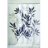 "Shower Curtain with Leaves Pattern, 72"" x 72"" Black & Grey"