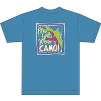 Real Girls Wear Camo T Shirt, Large Blue