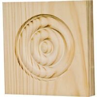 "Moulding & Trim Rosette Block, 3 3/4"" x 3 3/4"" x 1"" Oak"