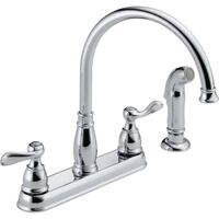 Two Handle Kitchen Faucet with Sprayer, Chrome