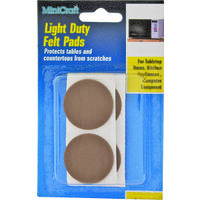 Light Duty Felt Pads Brown, 1/2""