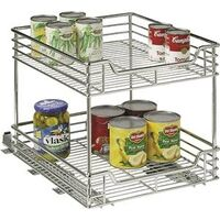 "Two Tier Sliding Cabinet Organizer, 14 1/2"""" Chrome"
