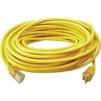 Extension Cord with Light Ends, 12/3 Gauge x 100&#39; Yellow 