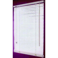 "Faux Wood Blinds, 43""W x 64""H White"