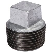 Galvanized Malleable Iron Square Head Plug, 4""