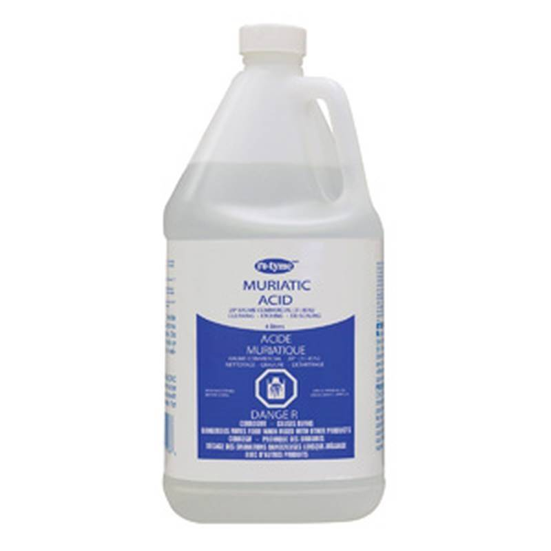 Clnr acid muriatic 4l case of 4 for Hydrochloric acid for cleaning concrete