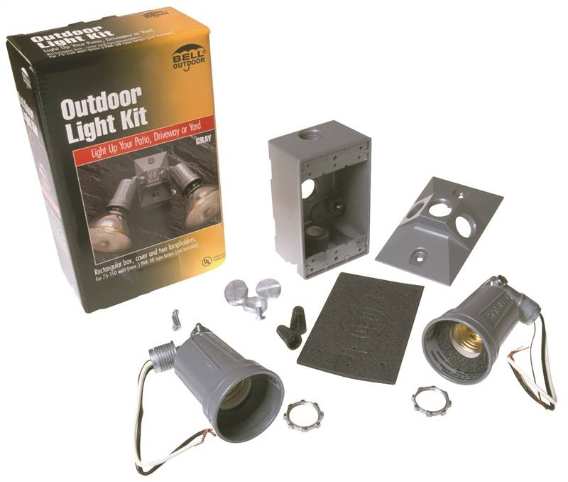 Bell weatherproof 5818 5 floodlight kits weatherproof gray for Sutherlands deck kits