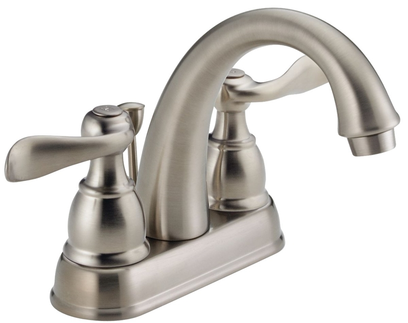 Delta Windemere Lavatory Faucet 5 1 8 In X 3 17 32 In Spout 4 In Center Stainless Steel