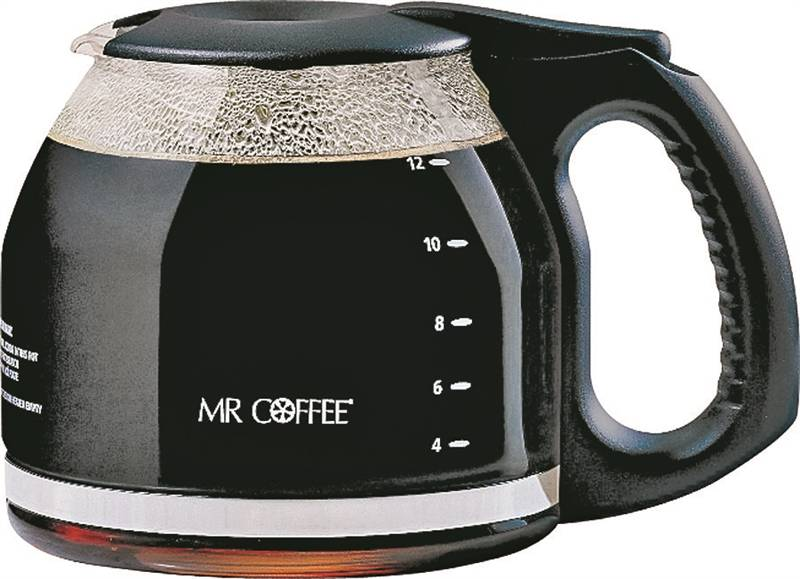 Mr. Coffee PLD12-RB Replacement Coffee Maker Decanter, 12 Cup, Glass, Black