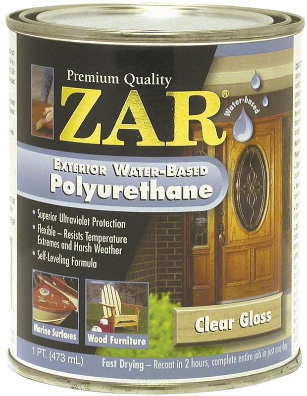 Zar 32611 water based polyurethane paint 1 pt can 500 600 sq ft gal clear amine for Zar exterior water based polyurethane