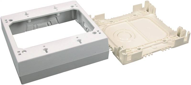wiremold nmw3 2 outlet box 2 4 3 4 in l x 4 7 8 in w x 1 3 8 in d