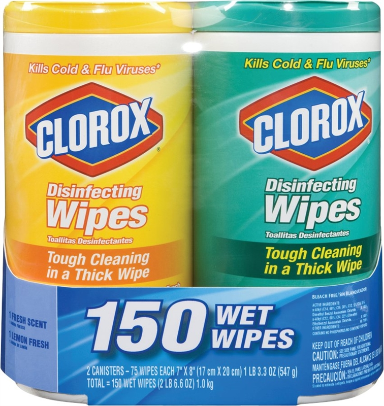 clorox 01599 disfect wipes twin pk 6 pack vorg6148910. Black Bedroom Furniture Sets. Home Design Ideas