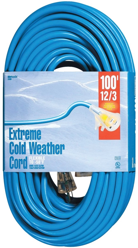 Woods Cold Flex Sjtw Outdoor Extension Cord With Powerlite